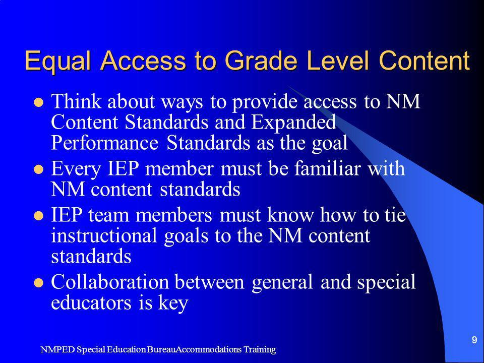 Equal Access to Grade Level Content