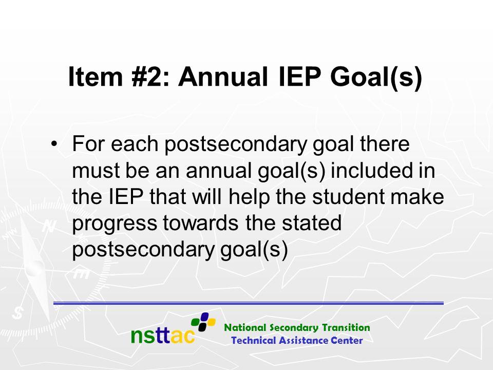 Item #2: Annual IEP Goal(s)