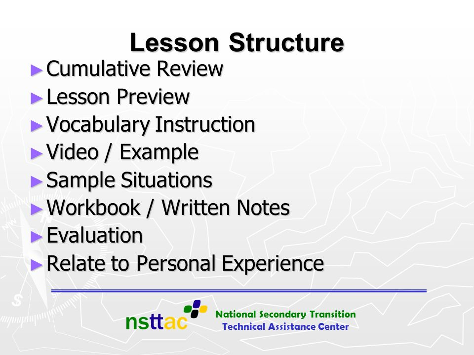 Lesson Structure Cumulative Review Lesson Preview