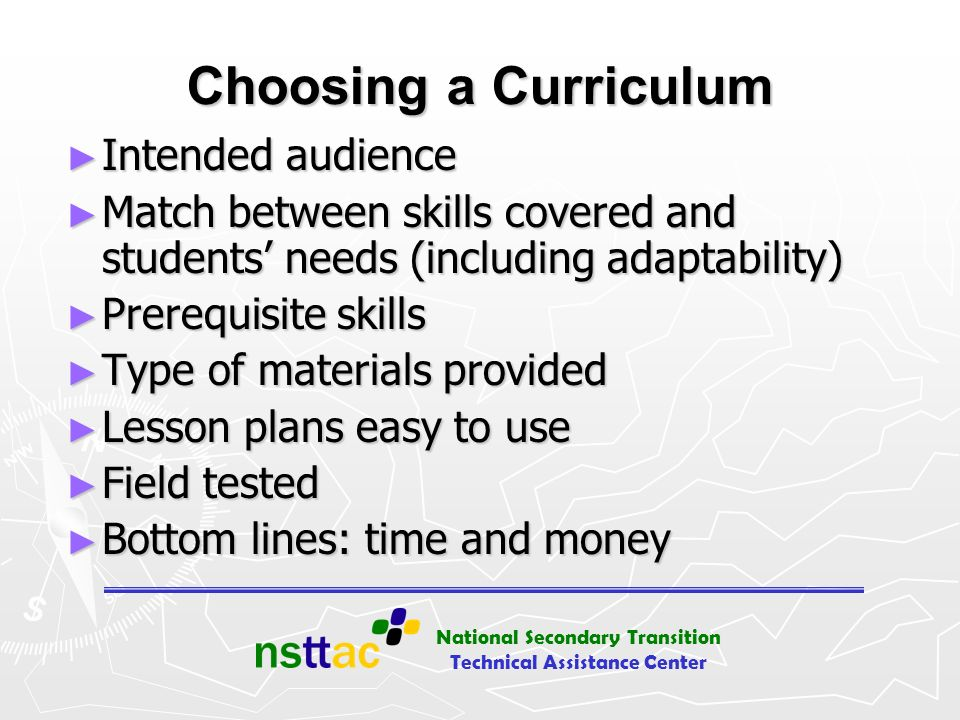 Choosing a Curriculum Intended audience