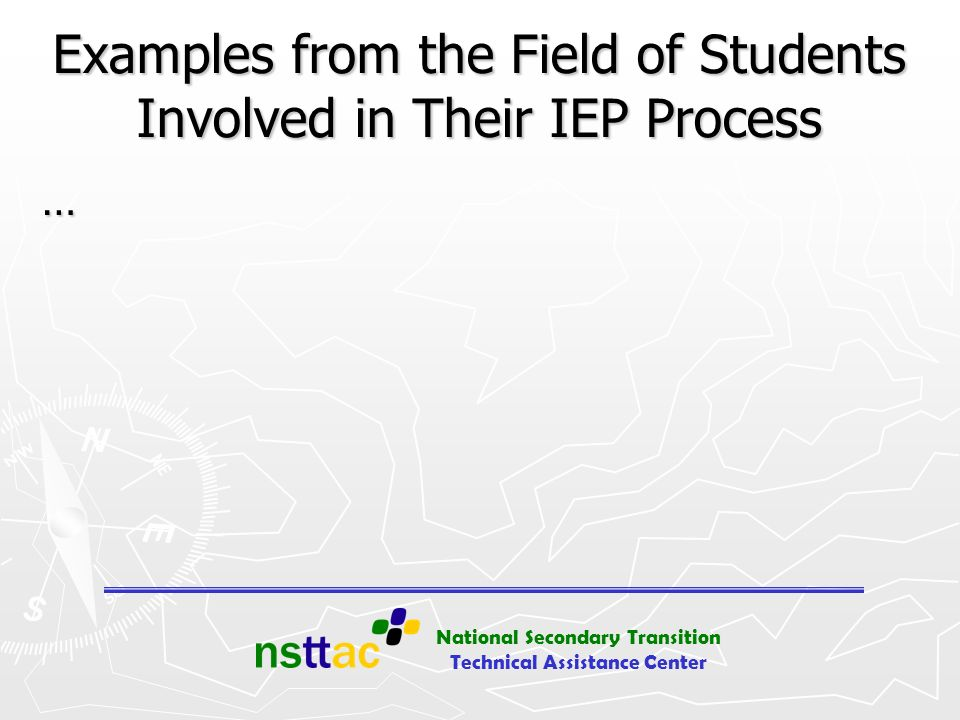 Examples from the Field of Students Involved in Their IEP Process