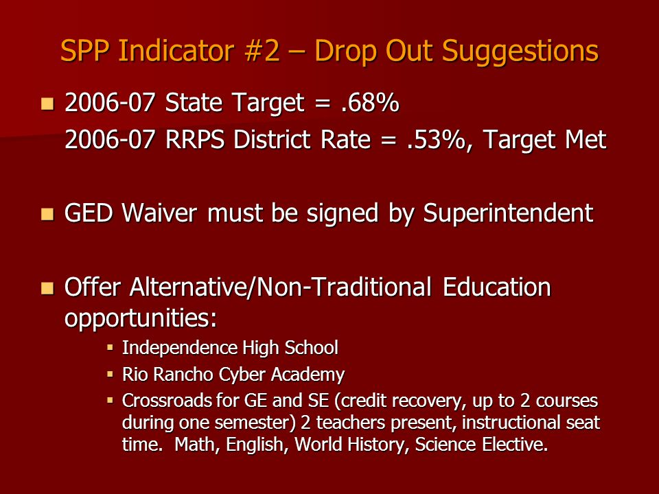 SPP Indicator #2 – Drop Out Suggestions