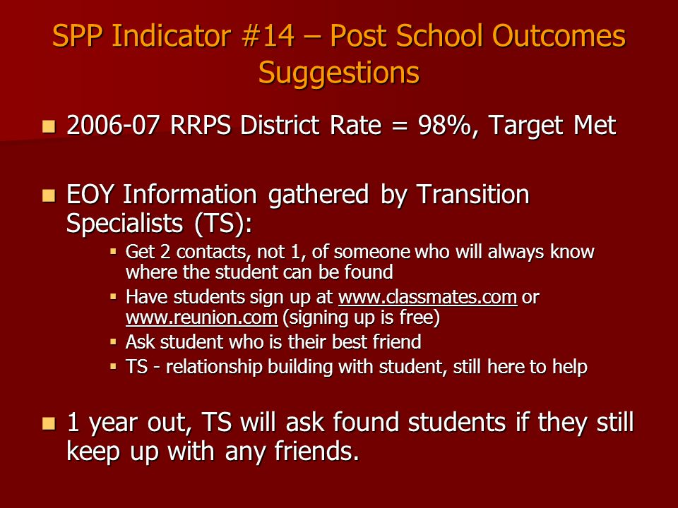 SPP Indicator #14 – Post School Outcomes Suggestions