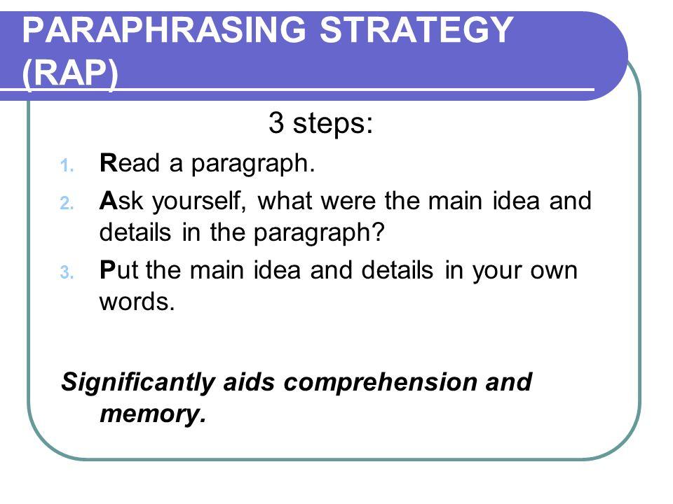 PARAPHRASING STRATEGY (RAP)