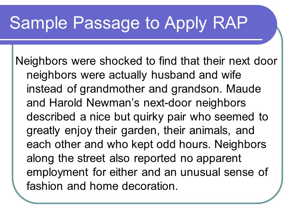 Sample Passage to Apply RAP