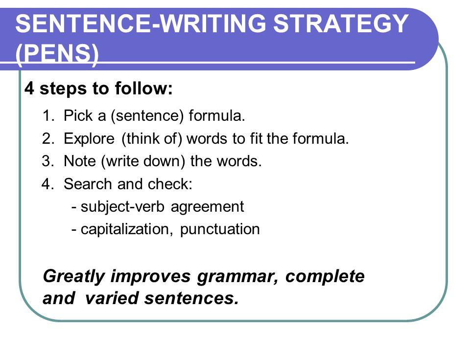 SENTENCE-WRITING STRATEGY (PENS)