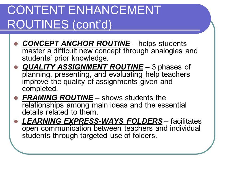CONTENT ENHANCEMENT ROUTINES (cont'd)