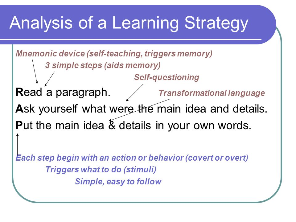 Analysis of a Learning Strategy