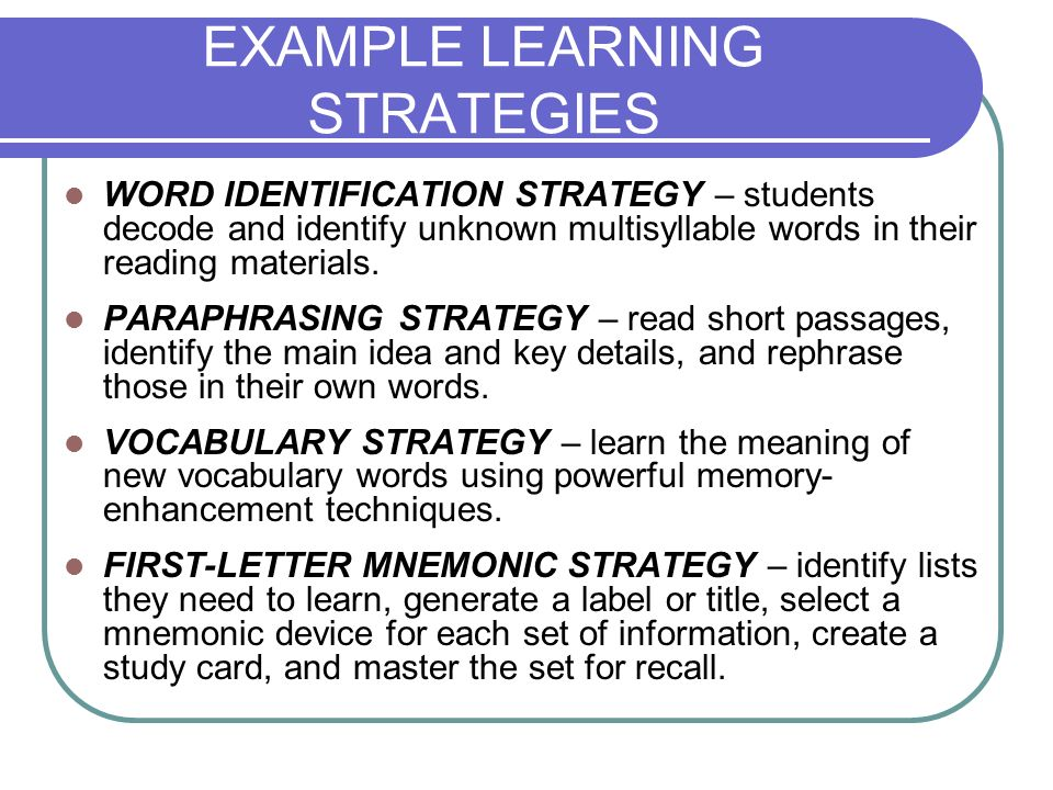 EXAMPLE LEARNING STRATEGIES