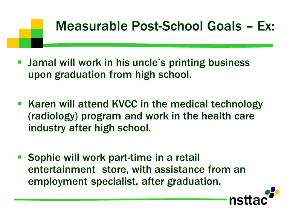Measurable Post-School Goals – Ex:
