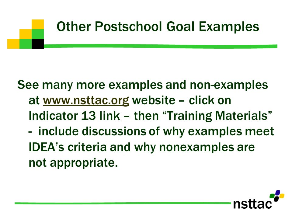 Other Postschool Goal Examples