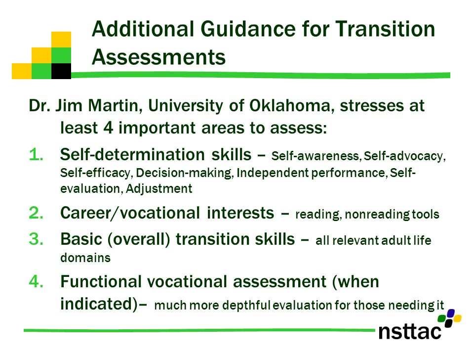 Additional Guidance for Transition Assessments