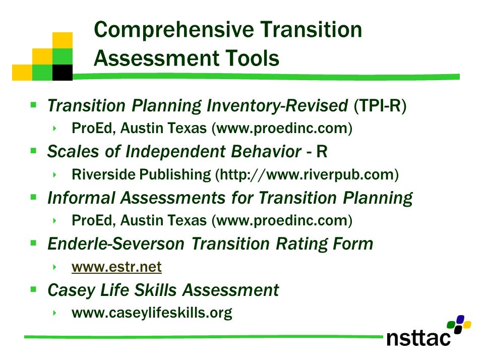 Comprehensive Transition Assessment Tools