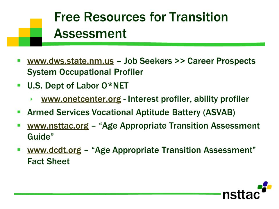 Free Resources for Transition Assessment