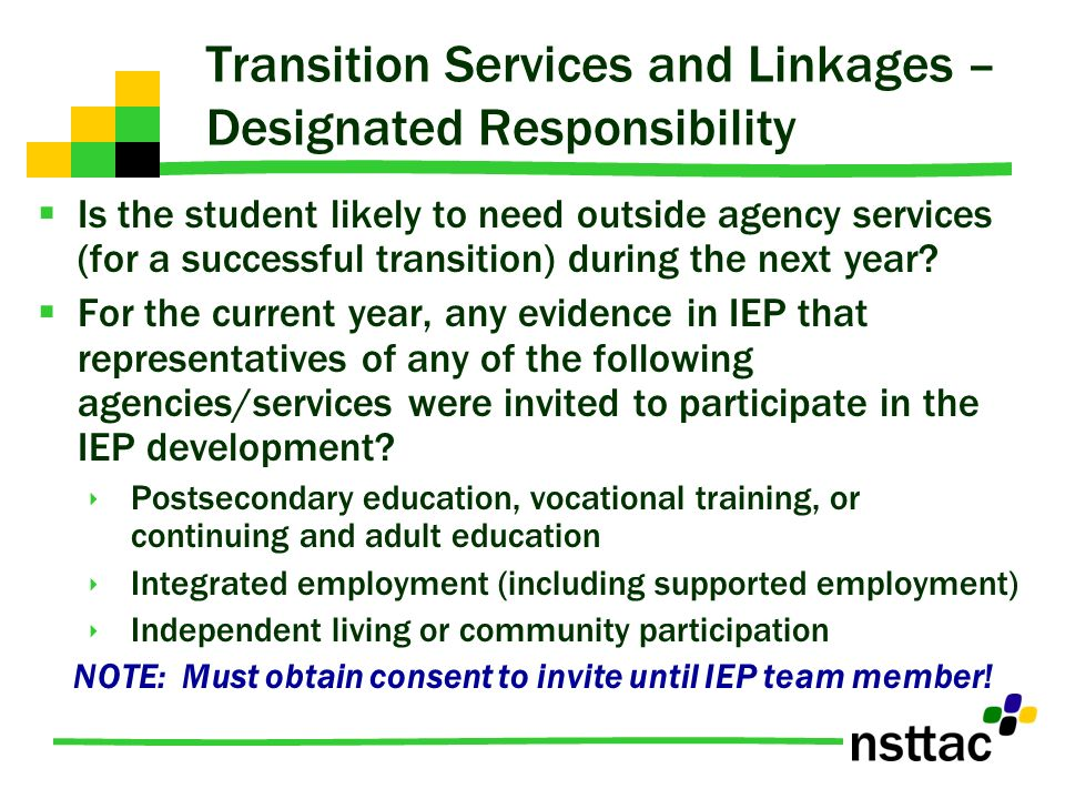 Transition Services and Linkages – Designated Responsibility