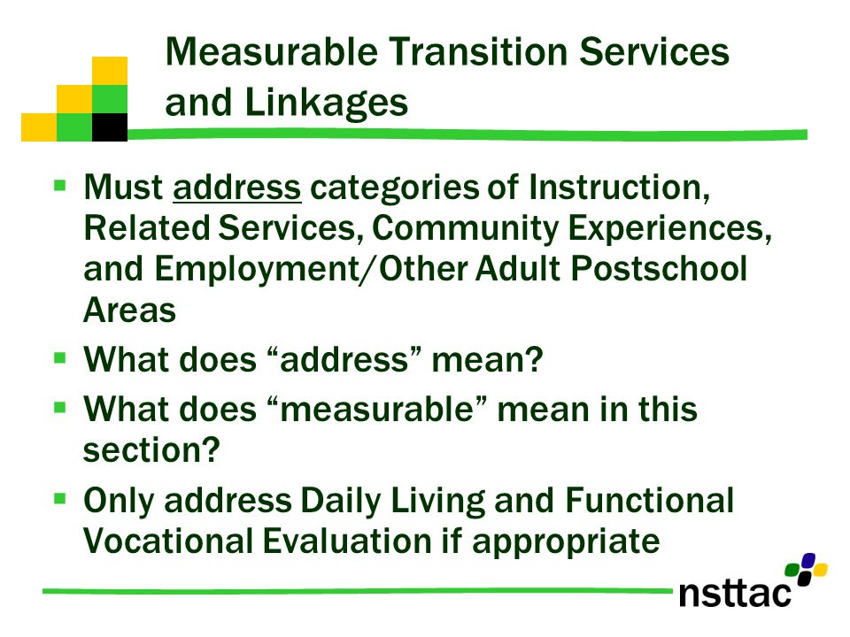 Measurable Transition Services and Linkages