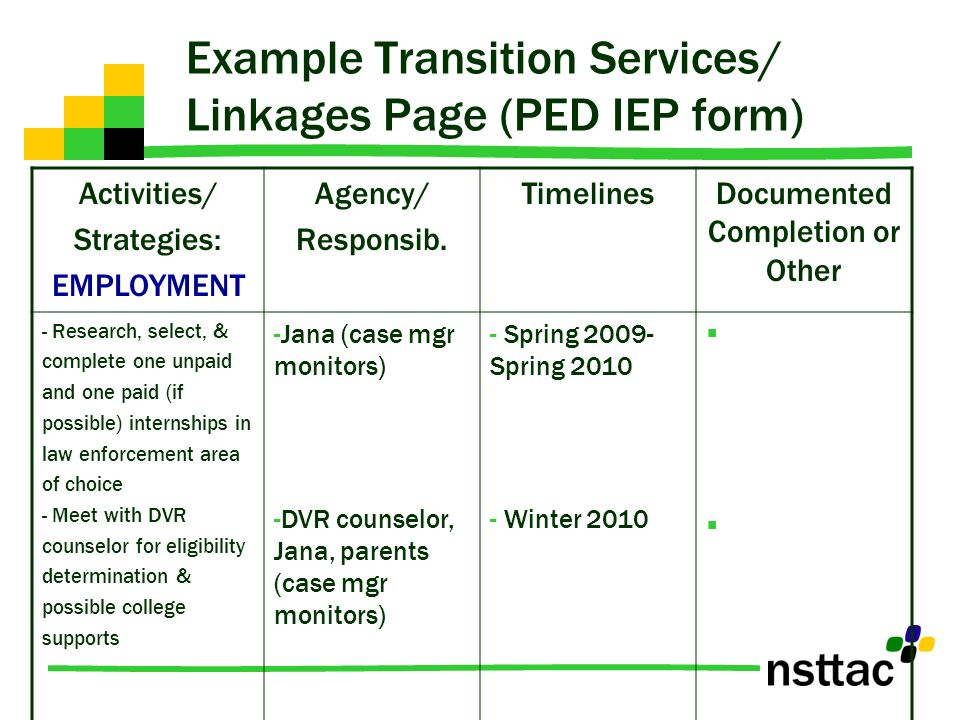 Example Transition Services/ Linkages Page (PED IEP form)