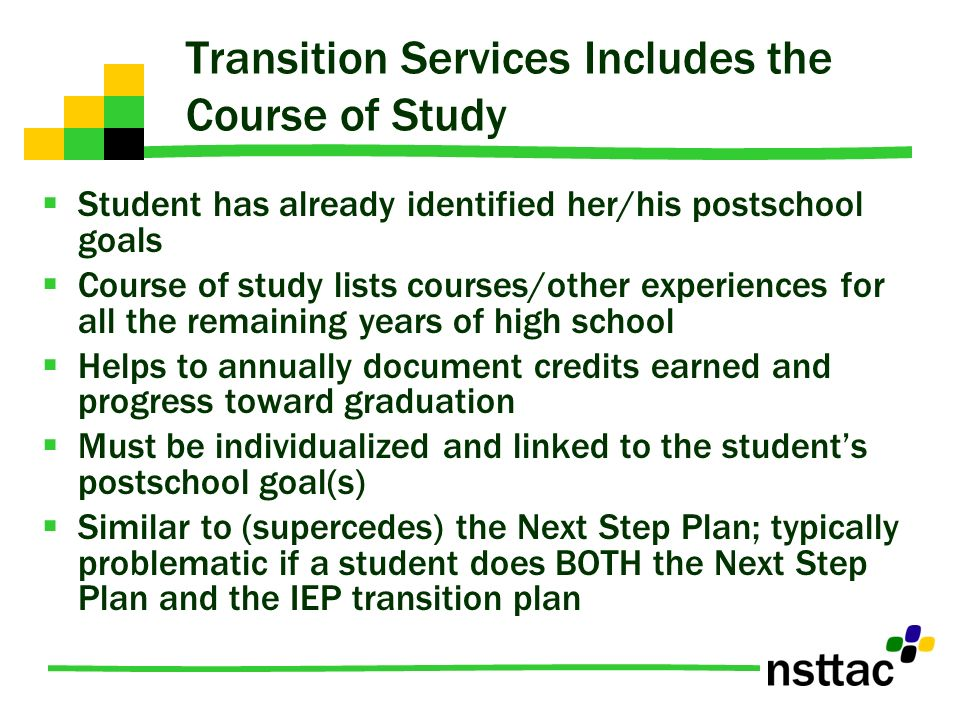 Transition Services Includes the Course of Study
