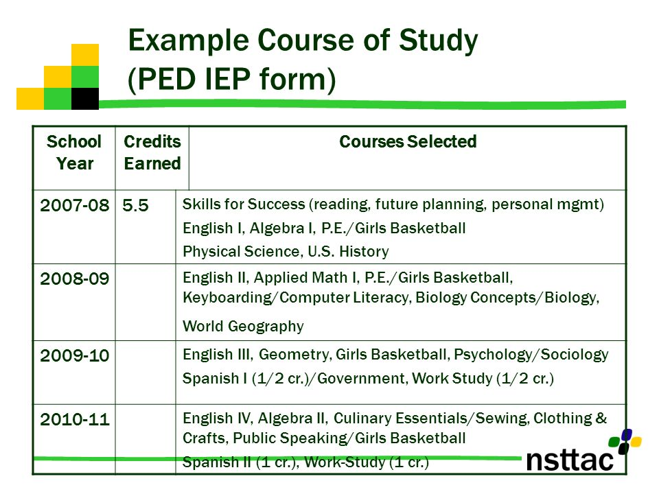 Example Course of Study (PED IEP form)