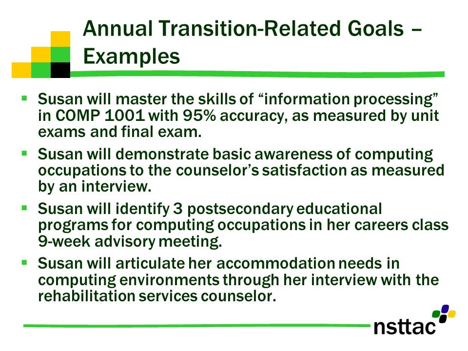 Annual Transition-Related Goals – Examples