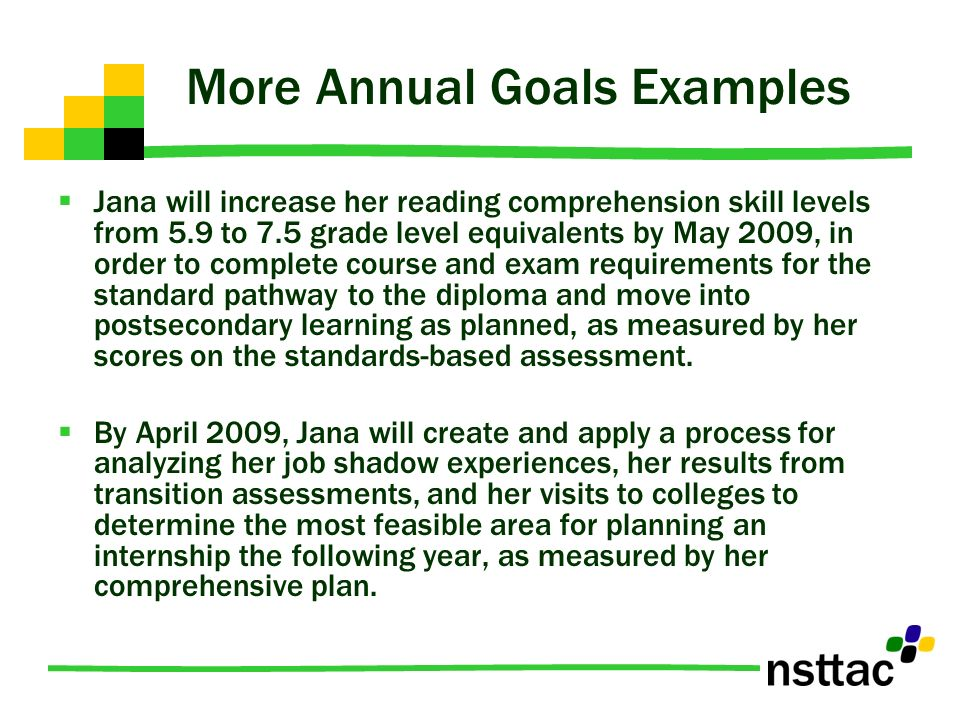 More Annual Goals Examples