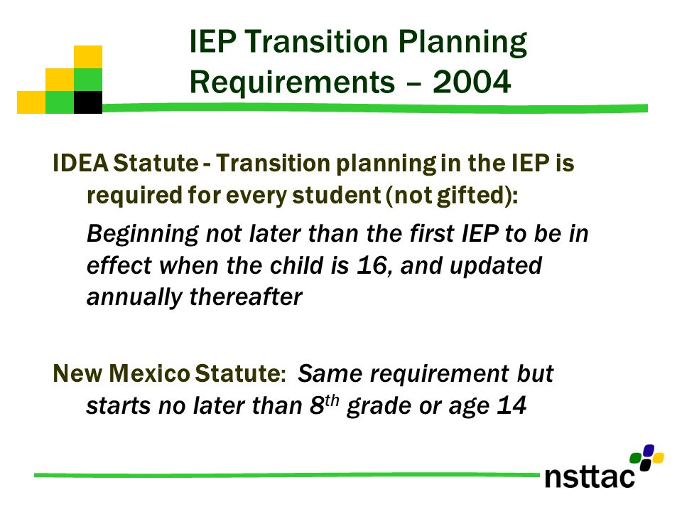 IEP Transition Planning Requirements – 2004