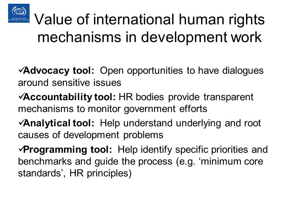 Value of international human rights mechanisms in development work