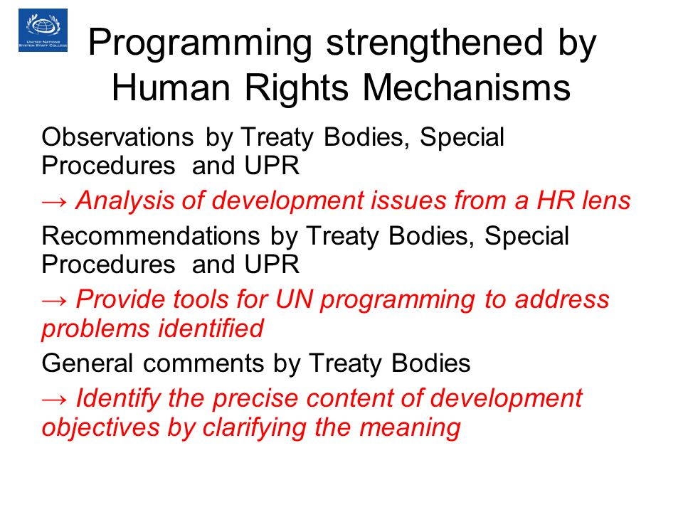 Programming strengthened by Human Rights Mechanisms