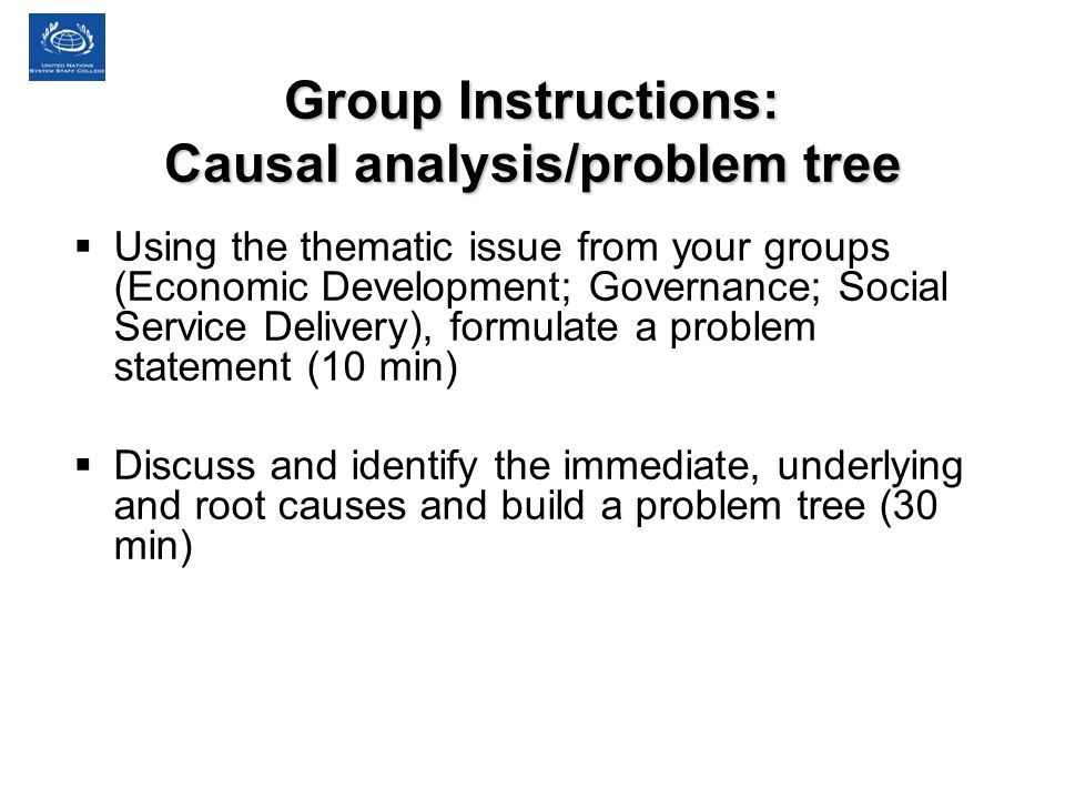 Group Instructions: Causal analysis/problem tree