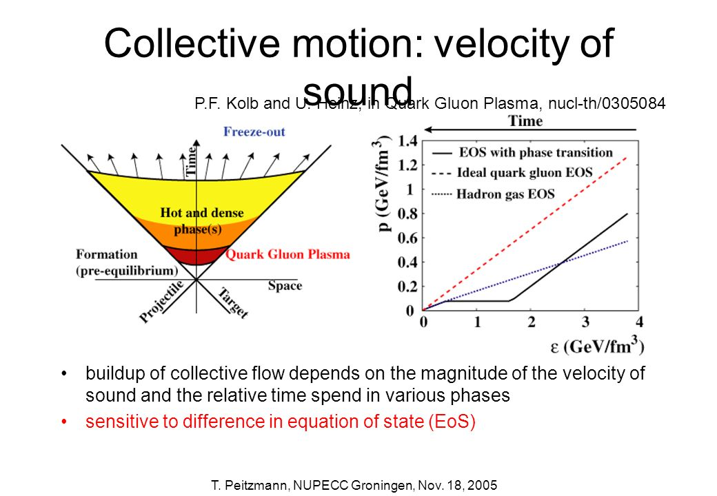 Collective motion: velocity of sound