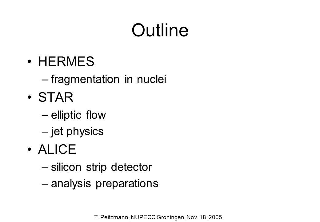 Outline HERMES STAR ALICE fragmentation in nuclei elliptic flow