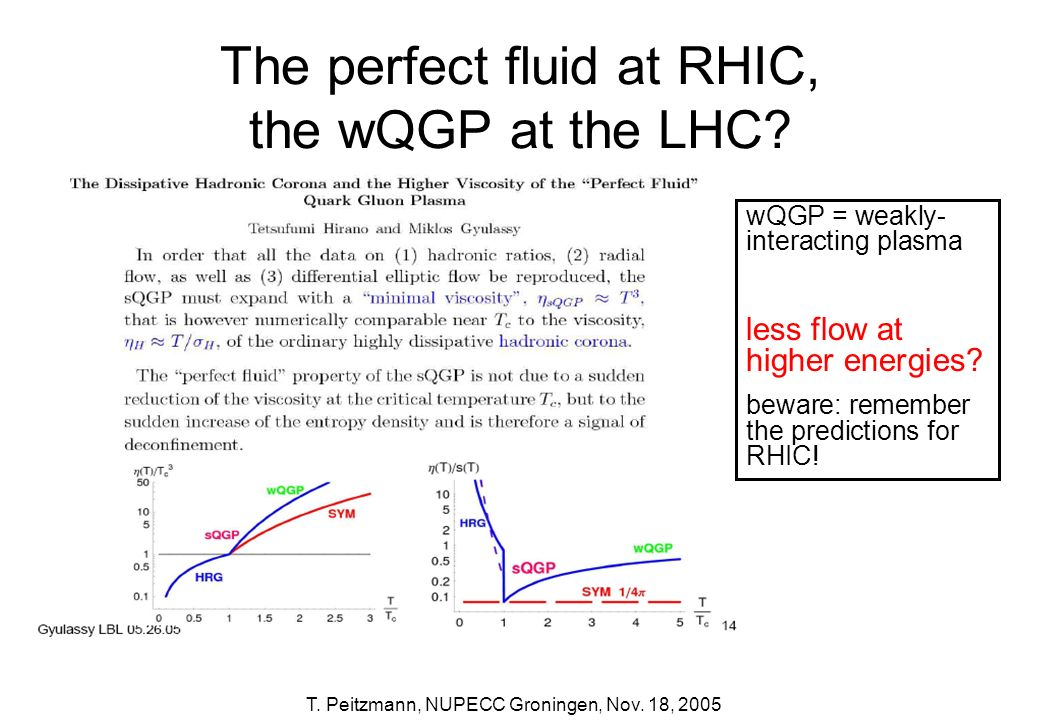 The perfect fluid at RHIC, the wQGP at the LHC