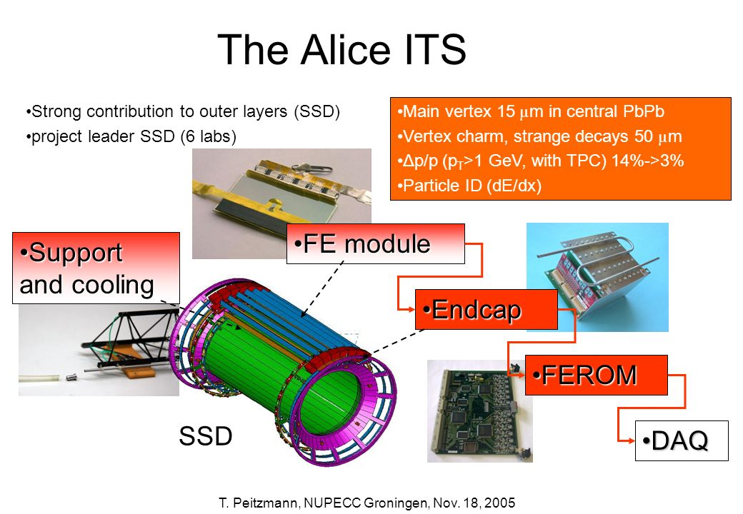 The Alice ITS FE module Support and cooling Endcap FEROM SSD DAQ