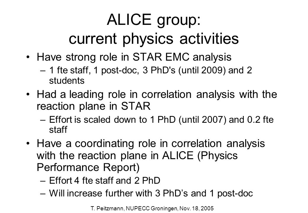 ALICE group: current physics activities