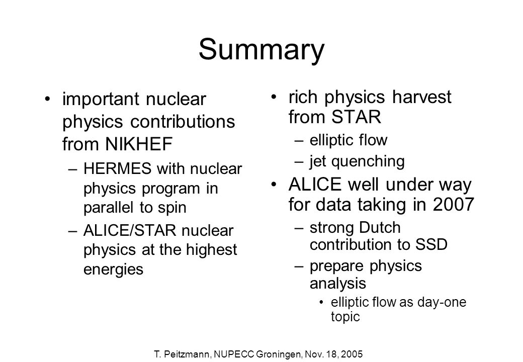 Summary important nuclear physics contributions from NIKHEF