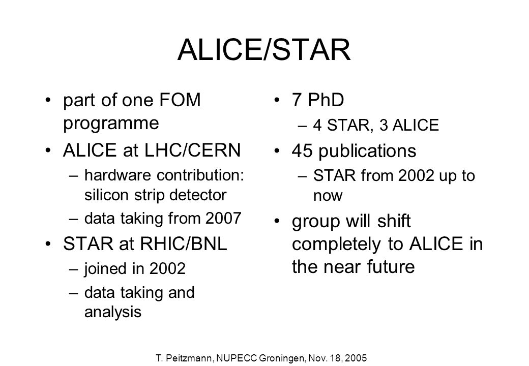 ALICE/STAR part of one FOM programme ALICE at LHC/CERN