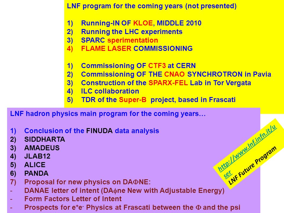 LNF program for the coming years (not presented)