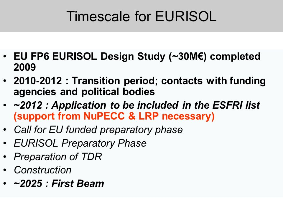 Timescale for EURISOL EU FP6 EURISOL Design Study (~30M€) completed 2009.
