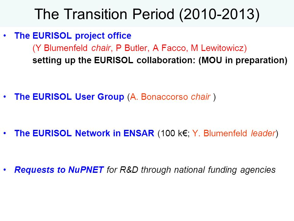 The Transition Period (2010-2013)