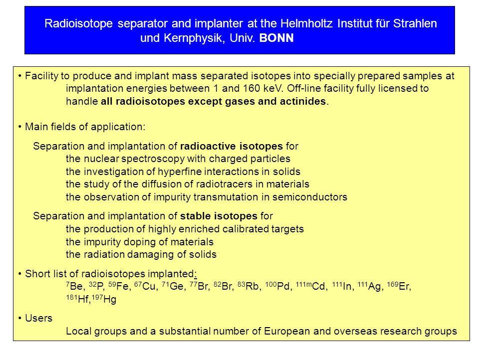 Radioisotope separator and implanter at the Helmholtz Institut für Strahlen und Kernphysik, Univ. BONN