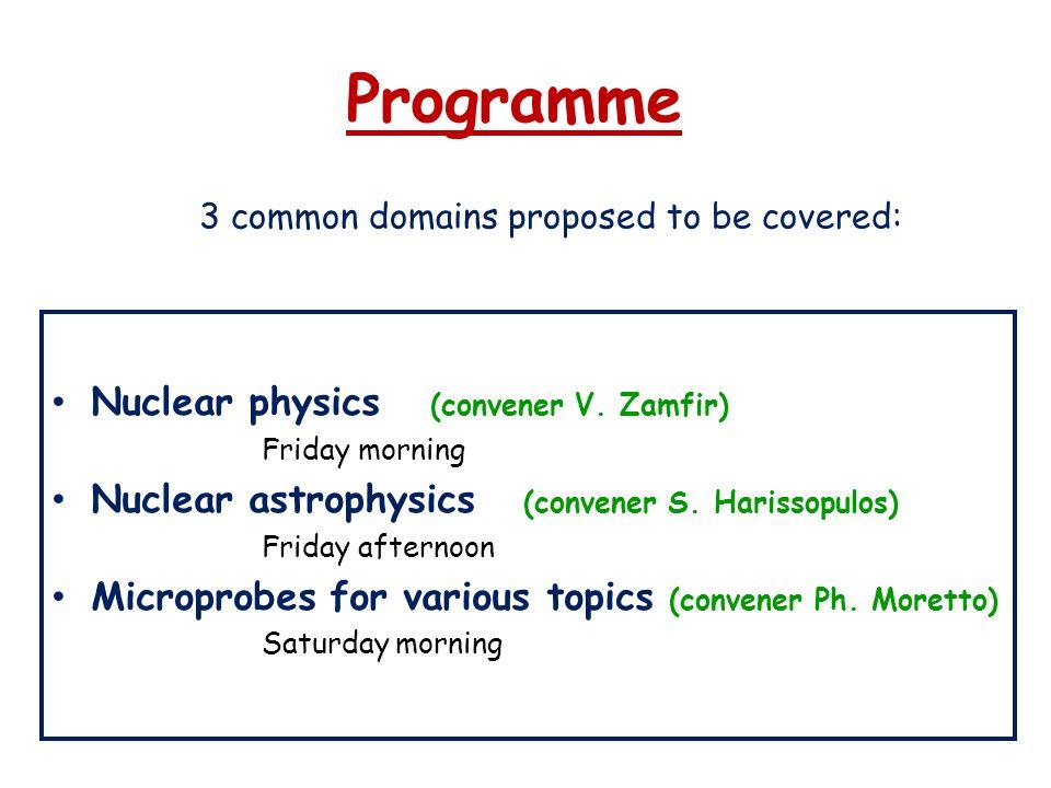 Programme Nuclear physics (convener V. Zamfir)