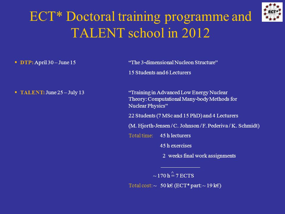 ECT* Doctoral training programme and TALENT school in 2012