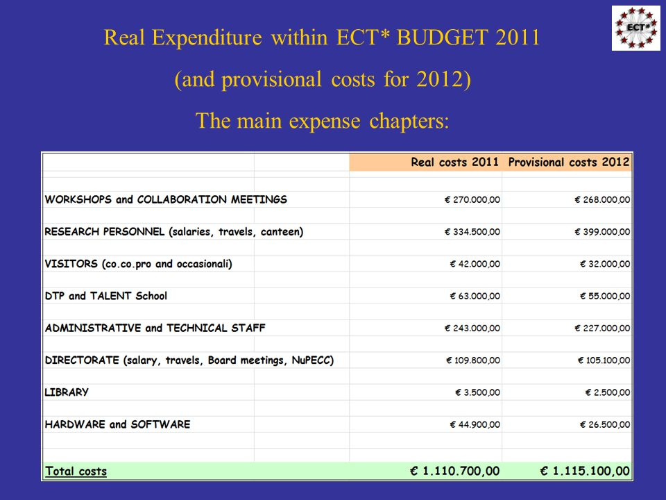 Real Expenditure within ECT* BUDGET 2011