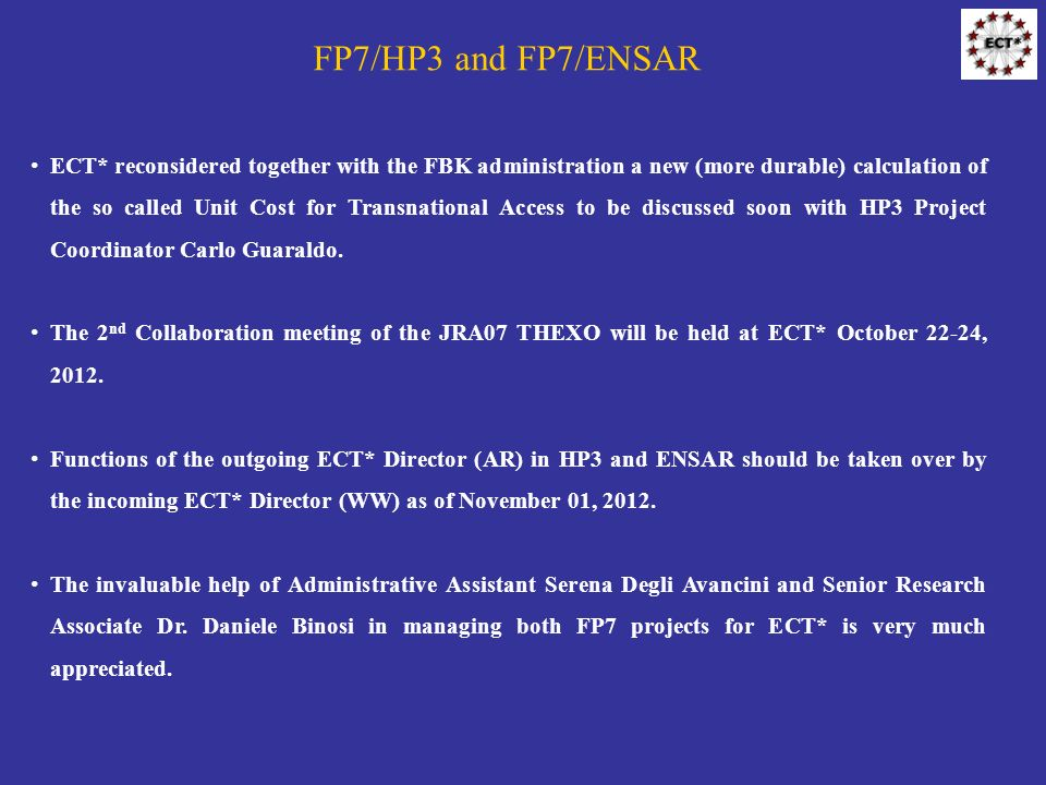 FP7/HP3 and FP7/ENSAR