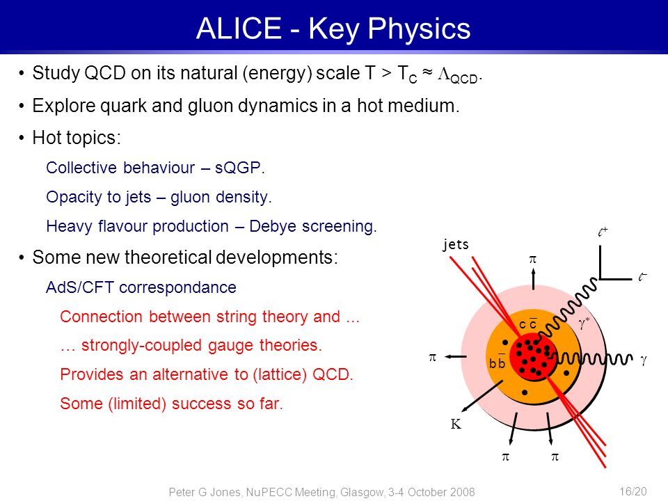 ALICE - Key Physics Study QCD on its natural (energy) scale T > TC ≈ QCD. Explore quark and gluon dynamics in a hot medium.