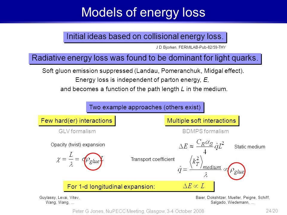 Models of energy loss Initial ideas based on collisional energy loss.