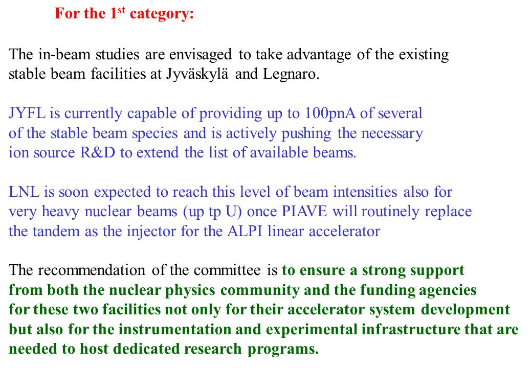 For the 1st category: The in-beam studies are envisaged to take advantage of the existing. stable beam facilities at Jyväskylä and Legnaro.
