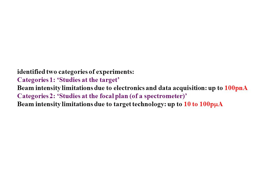 identified two categories of experiments: