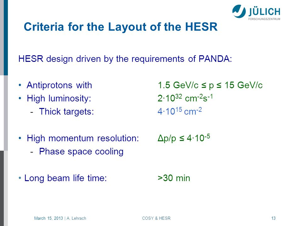 Criteria for the Layout of the HESR