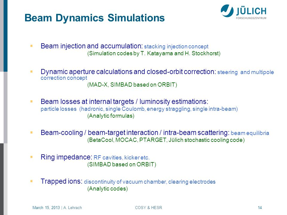 Beam Dynamics Simulations